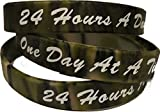 RecoveryChip Set of 3 Camo One Day At A Time/24 Hours A Day Silicone Wrist Bands 2.5' Wristband Bracelet AA NA