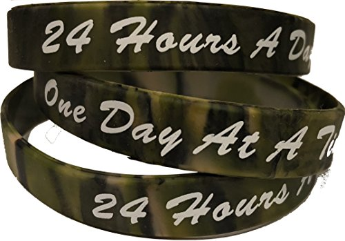 RecoveryChip Set of 3 Camo One Day At A Time/24 Hours A Day Silicone Wrist Bands 2.5 Wristband Bracelet AA NA