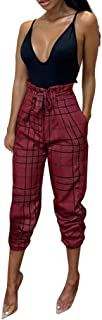 TEELONG Hosen Damen Lässige Bow Lattice Lose Hosen Lange Hosen Jogginghose Trainingshose Trainingsanzüge Overalls Fleece-Hose