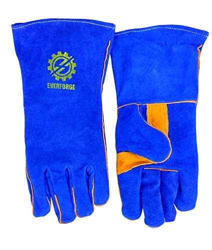 Welding Gloves 14'' for Arc, MIG and TIG Welders with 1 Steel Welding Rod - Heavy Duty Reinforced Kevlar Stitching, Extreme Heat Resistant Double Insulation, One Size - S, M, L, XL, XXL- Blue by Everforge (Image #3)