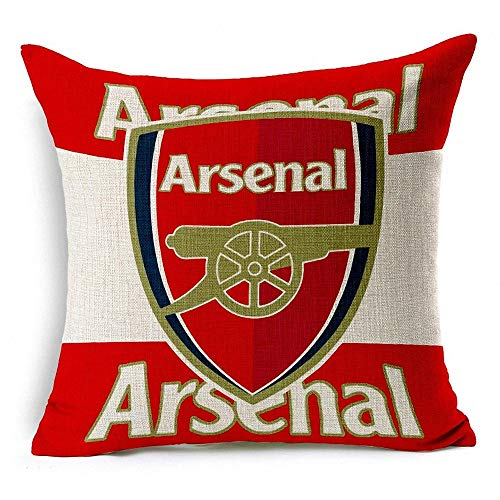 Sportfy Football Soccer Club Badge Arsenal Thick Cotton Blend Linen Square Throw Pillow Cases Car/Couch Decorative Cushion Case Pillow Covers 18