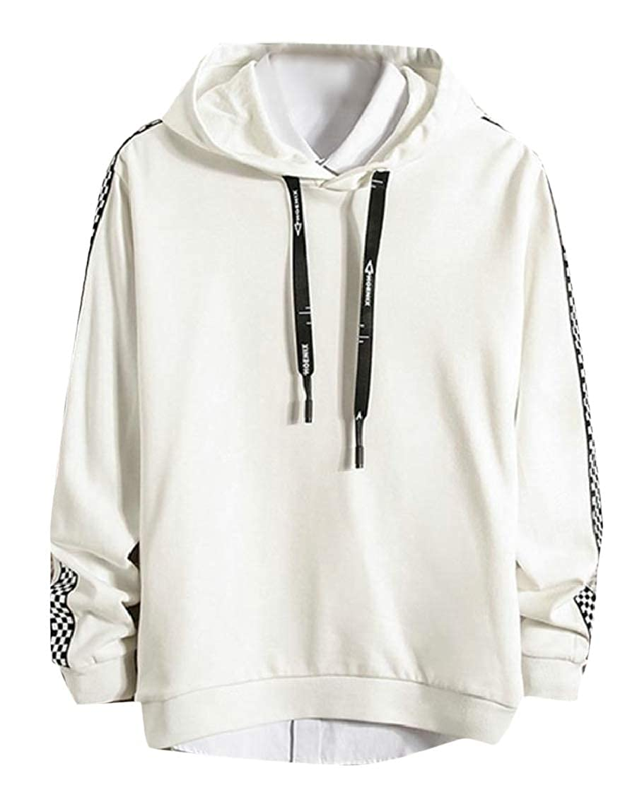 Hajotrawa Mens Simple Printing Activewear Hooded Tops Checkerboard Sweatshirts
