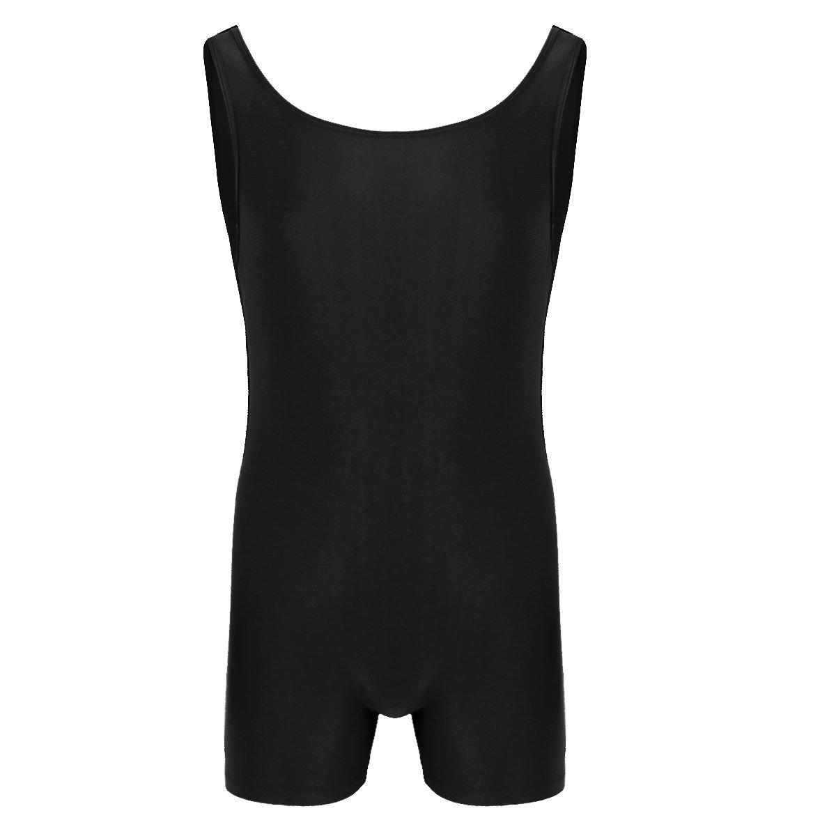ACSUSS Men's Sleeveless One Piece Bodysuit Stretchy Sports Leotard Underwear Black X-Large