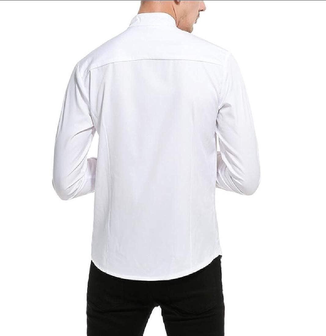 WSPLYSPJY Men Irregular Stand Collar Long Sleeves Novelty Button Down Shirts