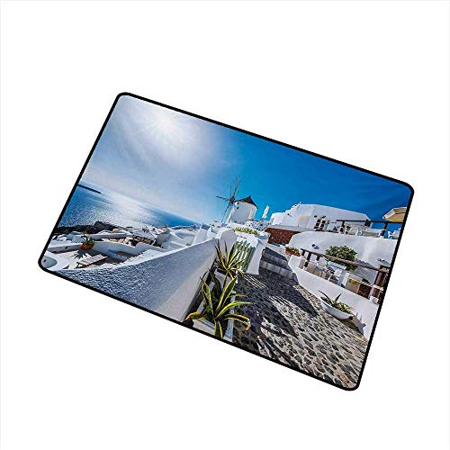 Becky W Carr Summer Inlet Outdoor Door mat Ancient Oia Village in Santorini Island Greece with Aegean Sea Scenery Image Catch dust Snow and mud W29.5 x L39.4 Inch,Blue and White