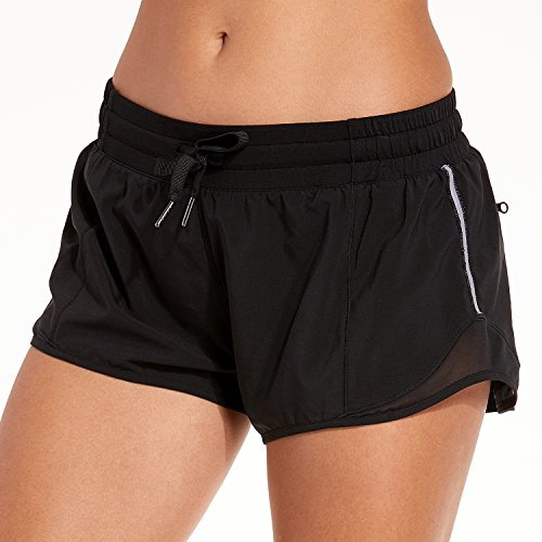 """CRZ YOGA Women's Workout Running Sports Shorts with Pocket – 2.5 inch Black – 2.5"""" S(4/6)"""
