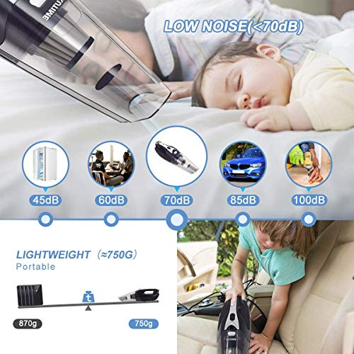 KUTIME Car Vacuum, 8000PA car Vacuum Cleaner high Power Cordless (with LED Light), 2600mAh Lithium Battery, Suitable for Home and Car