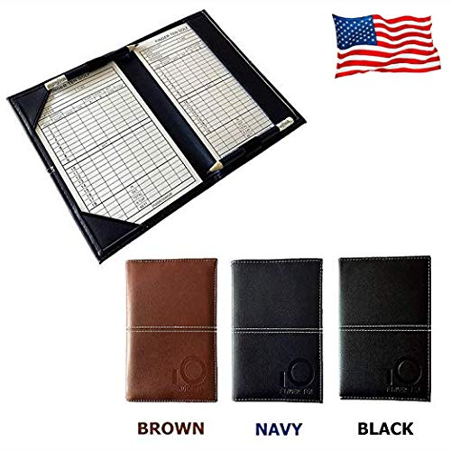 (FINGER TEN Golf Scorecard Holder Yardage Cover with 2 Free Golf Pencil 2 Score Card Sheet, Deluxe Color Black Blue Brown Gift Pack (Black))