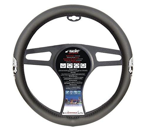 (Simoni Racing CVT/49 Universal Steering Wheel Cover Double Silver Skull)