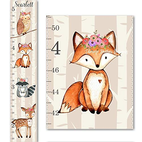 Woodland Fox Raccoon Owl and Deer Floral Flowers Canvas Girls Growth ()