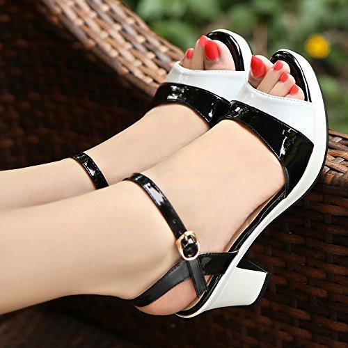 Sandalias de de BAJIAN LI mujer pie alto de para sandalias bajos verano de sandalias para tacón zapatos dedos mujer con 5ASFSqCa