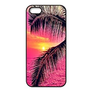 Personalized Palm Trees And Sunset Pink Iphone 5,5S Phone Case, Palm Trees And Sunset Pink Custom Durable Back Phone Case for iPhone 5,iPhone 5s at Lzzcase