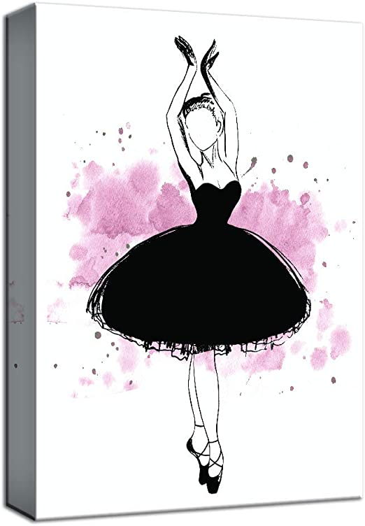 16x24 inches NWT Canvas Wall Art Ballet Dancer in Red Dress Painting Artwork for Home Decor Framed