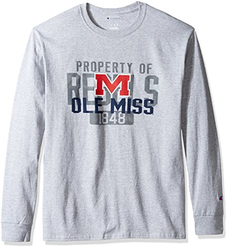 Champion NCAA Men's Long Sleeve Lightweight T-shirt Officially Licensed 100% Cotton Tagless Tee Ole Miss Rebels Large