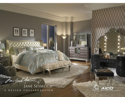 Hollywood Swank California King Pearl Bedroom Set By Aico (Aico Furniture)