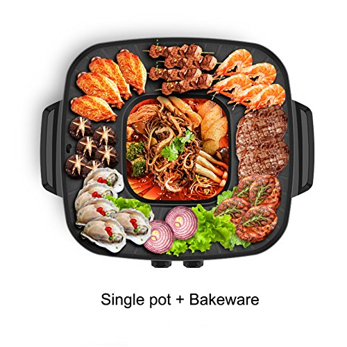 - Duceny BBQ Indoor Electric Grill -Multifunctional pot 1600W, Black 9 inches,Single Pot