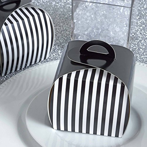 (Efavormart Lovable Striped Cupcake Purse Favor Boxes for Candy Treat Gift Wrap Box Bridal Shower Wedding Party 10pc - White/Black)