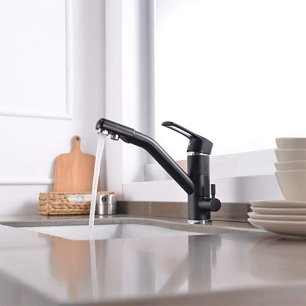 Black FZHLR Filter Kitchen Tap Faucets 3 Function Kitchen Mixer Torneiras Double Function Faucet Chrome Finished Water Filter 3 Way Sink Tap 360 Degree Swivel,Black
