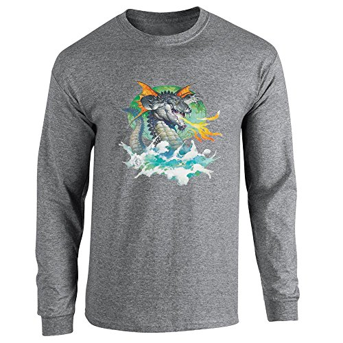 Winged Dragon by Frank Frazetta Art Graphite Heather L Long Sleeve T-Shirt (Dragon Graphite)