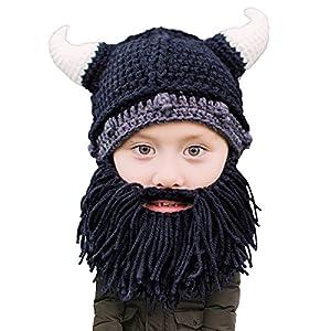2083632c8fb63 Beard Head Kid Viking Beard Beanie – Horned Hat w Fake Beard for Kids  Toddlers