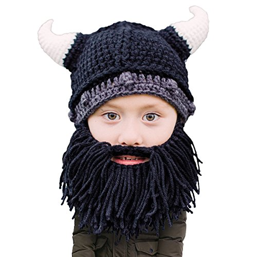 Beard Head Kid Viking Beard Beanie - Horned Hat and Fake Beard for Kids Toddlers Black]()