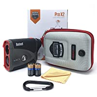 Bushnell Pro X2 Laser Golf Rangefinder 201740 BUNDLE with Carrying Case, Carabiner, Lens Cloth, and Two (2) CR2 Batteries…
