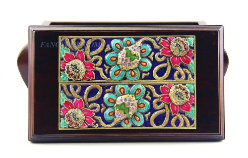 Jay Strongwater Amazing Flower Tile Design on Wood Box Swarovski New Made in Usa Unique and Rare