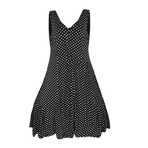 iLOOSKR Women Polka Dot V-Neck Loose Layered Sleeveless Pullover Blouse Long Shirt Tops(Black,M)