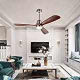 52'' Ceiling Fan Remote Control 3 Blades LED Brushed Nickel Timing Indoor