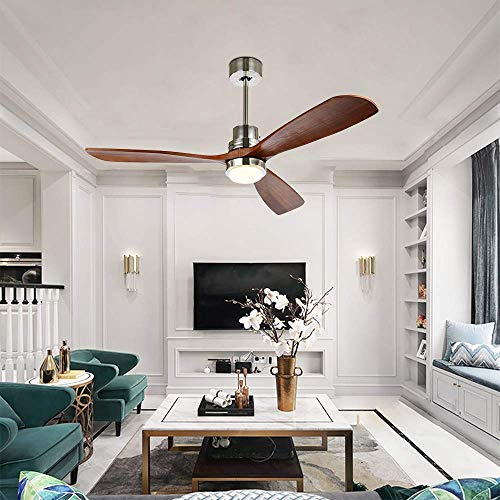 Stamo 52-inch Ceiling Fan with LED Lights, Indoor Ceiling Fan with Light, Remote Control, Delta-Wing Timing Function, Super Noiseless 3 Blades Distressed Koa Brushed Nickel ()