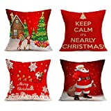 KOSBON Happy Christmas Holiday Home Decor Throw 4-Pack Pillow Case Cushion Cover ,Cotton Linen Square Burlap Decorative Throw Pillow Case (B Chirstmas)