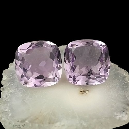 2 Pcs. Lot Natural Amethyst Loose Gemstones Pink Colour,Square Shape,12mm Faceted Cut,Jewelry Making Gemstone 13.80 Cts,B395. (Tcw Natural)