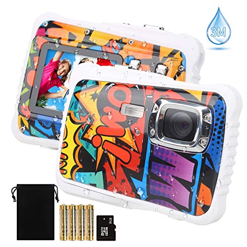 【2019 Newest Kids Camera】 Kids Camera, Waterproof Digital Camera for Children, 12MP HD Underwater Camcorder with 3M Waterproof, 2.0 Inch LCD Screen, 8X Digital Zoom, Flash Mic and 8G SD Card (Best Camera For Underwater Photography 2019)