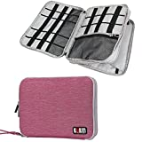 Travel Organizer, BUBM Universal Double Layer Travel Gear Organizer Storage Bag / Electronics Accessories Organizer / USB Cable Organizer Bag - Rose Red and Light Grey