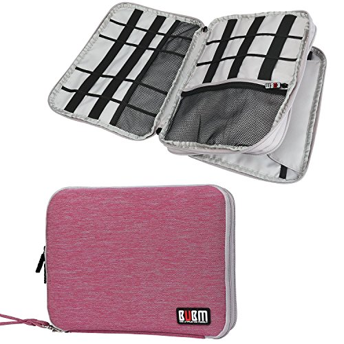 Travel Organizer, BUBM Universal Double Layer Travel Gear Organizer Storage Bag / Electronics Accessories Organizer / USB Cable Organizer Bag - Rose Red and Light Grey (Portable Electronics Gadgets)