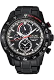 Seiko Sportura Solar Black Ion 100 M Black Stainless Steel Chronograph Watch SSC373