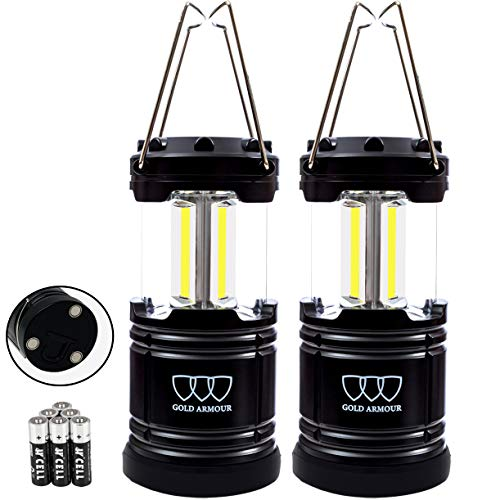 Gold Armour 2 Pack Portable Led Camping Lantern Flashlight with Magnetic Base - EMITS 500 LUMENS - Survival Kit for Emergency, Hurricane, Power Outage with 6 AA Batteries