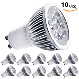 10-Pack 4W GU10 LED Bulbs - 7000K Daylight LED Spotlights - 85V-265V (330 Lumen - 50Watt Equivalent) 45 Degree Beam Angle