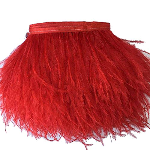 KOLIGHT Pack of 5 Yards Natural Dyed Ostrich Feathers Trim Fringe 4~5inch for DIY Dress Sewing Crafts Costumes Decoration (Red)