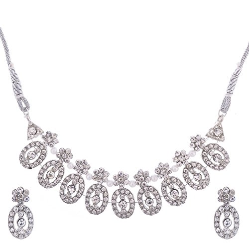 Handicraft Kottage Women's Silver Plated Stylish Necklace set with Earrings and Rhodium Plating & Pearls by Handicraft Kottage