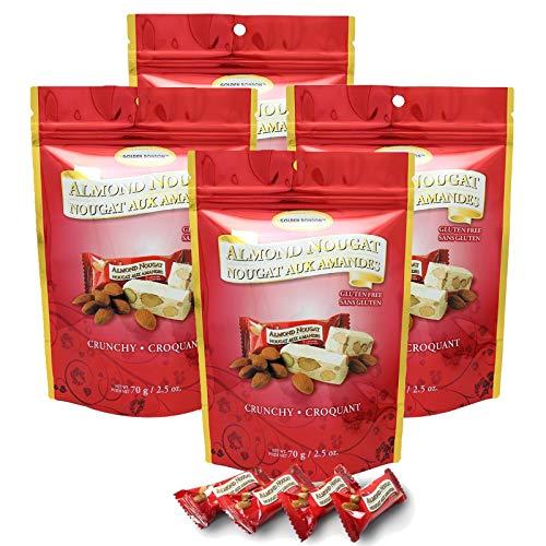 Golden Bonbon Gluten Free Almond Nougat Chewy Candy 2.5oz, 4 Packs (Original Crunchy)