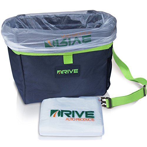 The Drive Bin Car Garbage Can, Green - Best Auto Trash Bag for Litter, Free Waste Basket Liners - Hanging Recycle Kit is Universal, Waterproof Organizer Makes a Great Drink Cooler & Road Trip Gift