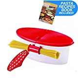 Hot Pasta Boat Heat Resistant PP Material Microwave Steamer Boat Strainer with Recipe Book, Vibrant Red