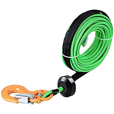 "1/4"" x 50' 7000 LBs Green Synthetic Cable Rope Rock Guard Sheath + Yellow Half-Link Clevis Safety Latch Swivel Winch Hook + Rubber Stopper ATV UTV SUV Off-Road Ramsey"