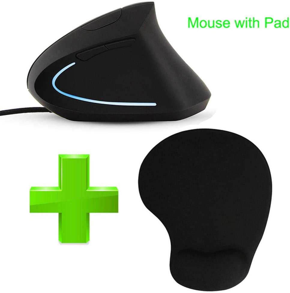CHYI Wired Ergonomic Vertical Mouse with LED Light 3200DPI Optical Computer Mice USB Cable Gaming Muase Mouse Pad for Laptop PC Only Mouse Pad