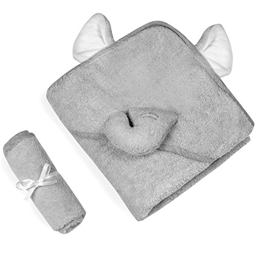 Luxury Hooded Baby Towel and Washcloth Set | Gray Elephant Design | Extra Soft Bamboo Baby Towel | One Size for Infant, Toddler, Newborn | Perfect Gift for Boys and Girls