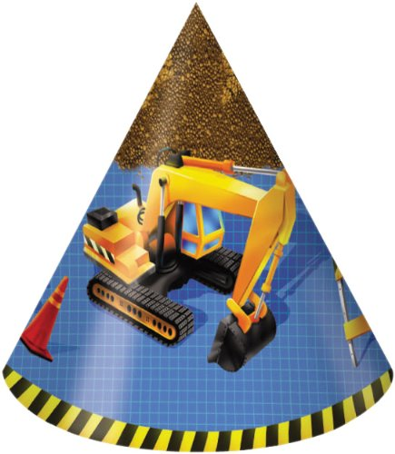 Creative Converting Under Construction Birthday Party Hats, Child Size, 8 Count -