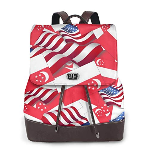 Singapore Flag with America Flag Women Backpack Purse Waterproof Leather Anti-theft Schoolbag Lightweight Rucksack