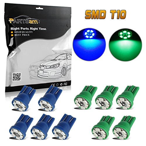 Partsam 10x Super Blue & Green 6-3020-SMD LED 194 168 T10 Wedge Instrument Light Replacement for Ford Mustang 1968-2012