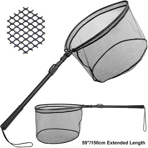 PLUSINNO Fishing Net Fish Landing Net, Foldable Collapsible Telescopic Pole Handle, Durable Nylon Material Mesh, Safe Fish Catching or Releasing (59